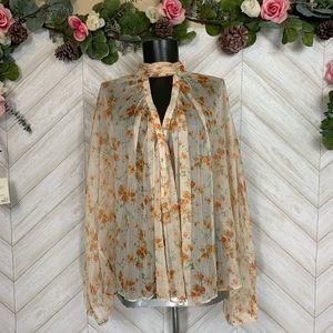 Zara Long Sleeve Sheer Blouse Small